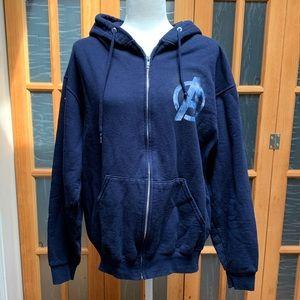 Navy blue graphic avengers zip up hoodie
